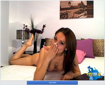 Screenshot of Brunette Cam Model Blowing Me a Kiss